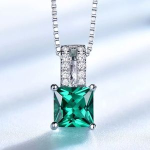 Emerald Sterling Silver 925 Pendant Necklace